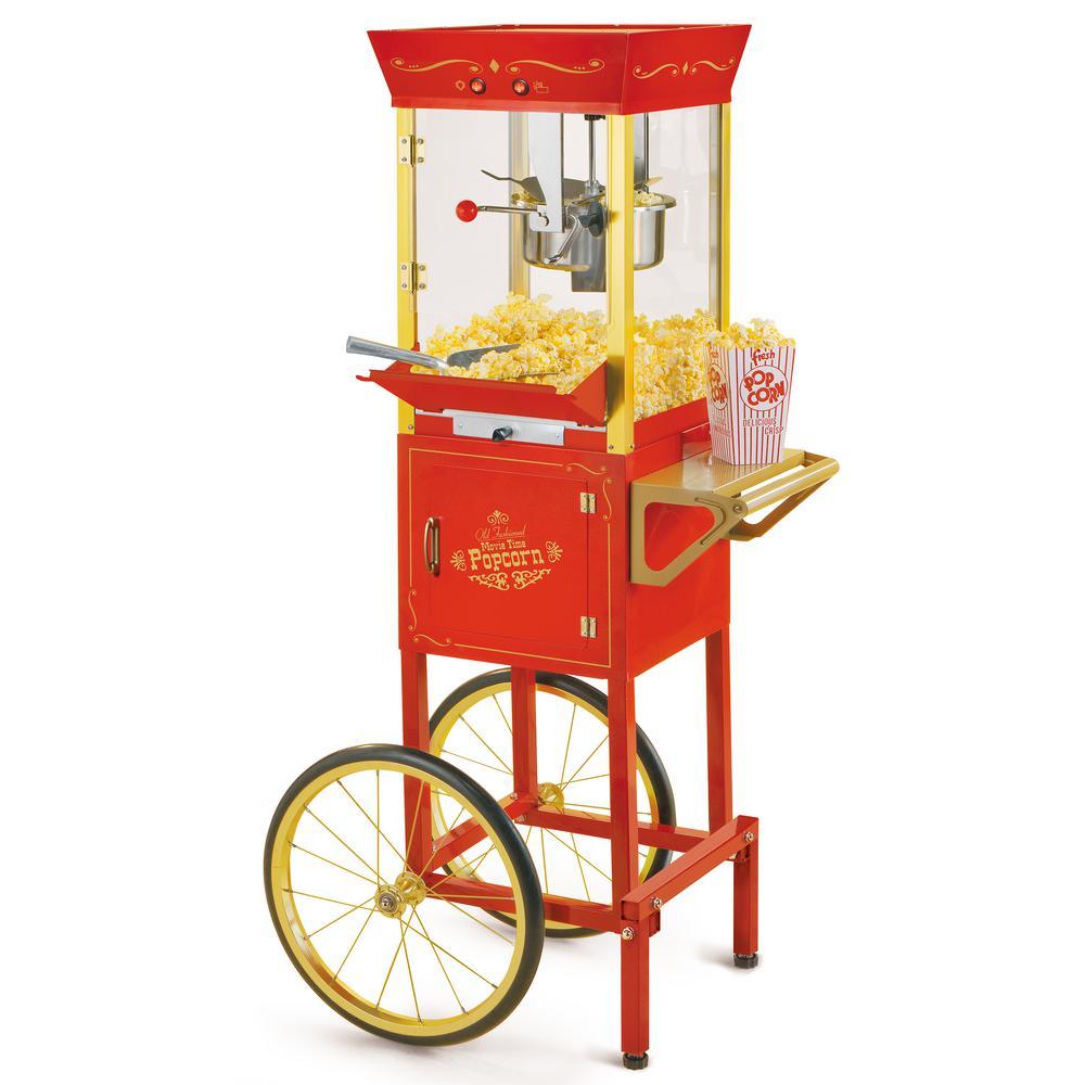 Vintage 600-Watt 8 oz. Oil Red Popcorn Machine with Cart