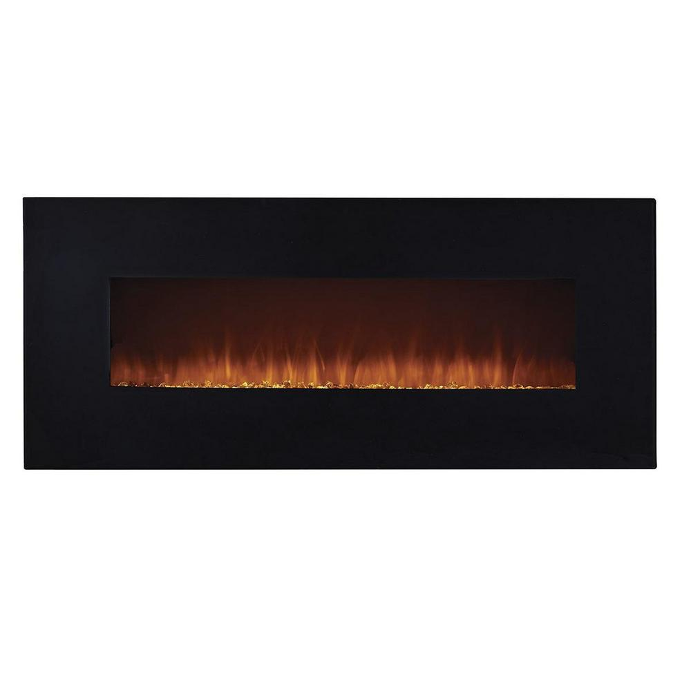 EdenBranch 50 in. LED Wall-Mounted Electric Fireplace with Crystal Flame Effect in Black