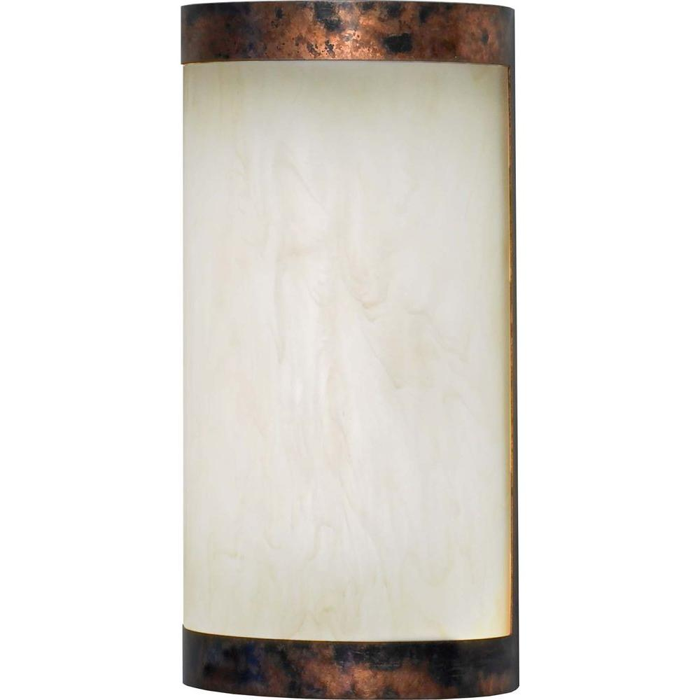 Filament Design 11.75 in. Burled Copper Plate Interior Wall Sconce with 1 Energy Efficient Light
