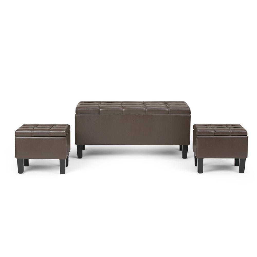 Simpli Home Dover 44 in. Contemporary Storage Ottoman in Chocolate Brown