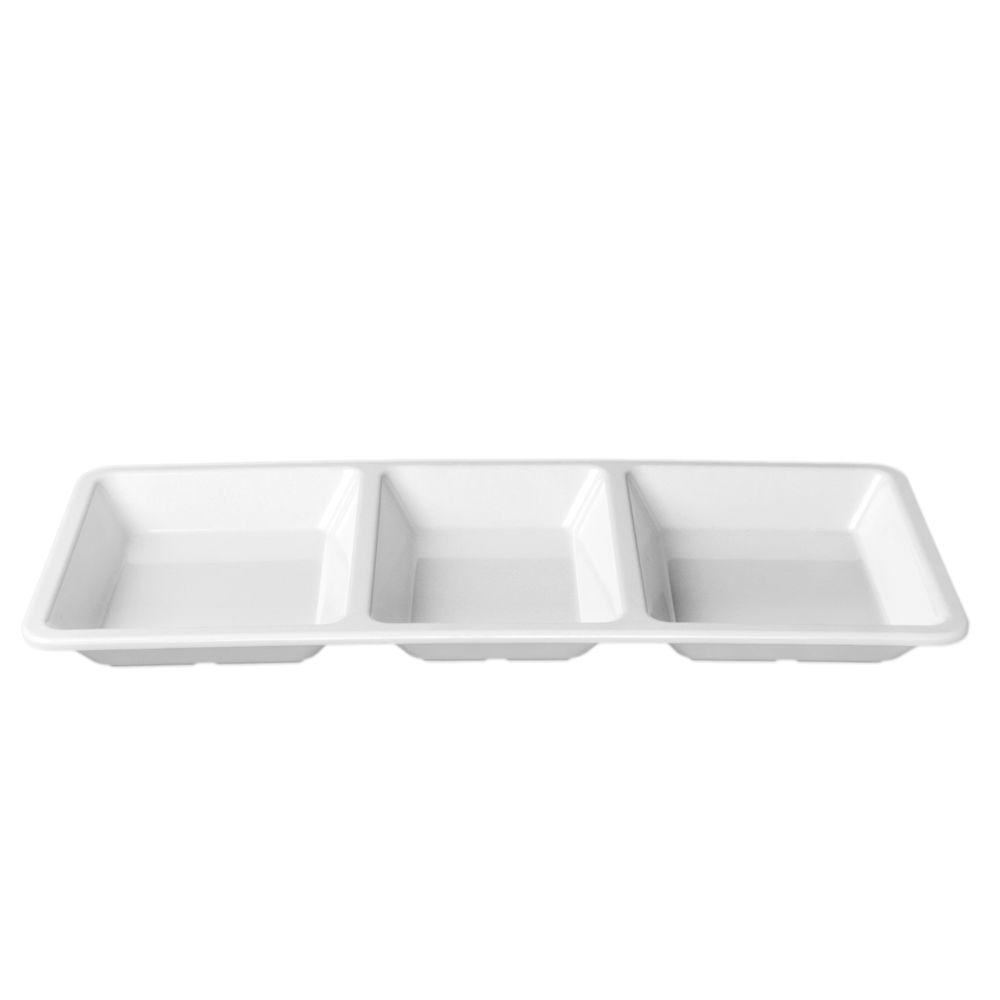 Restaurant Essentials Jazz 28 oz., 15 in. x 6-1/4 in. x 1 3/8 in. Rectangular 3 Section Compartment Tray in White (1-Piece)