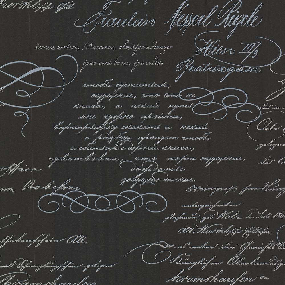 8 in. x 10 in. Ferdinand Black Poetic Script Wallpaper Sample