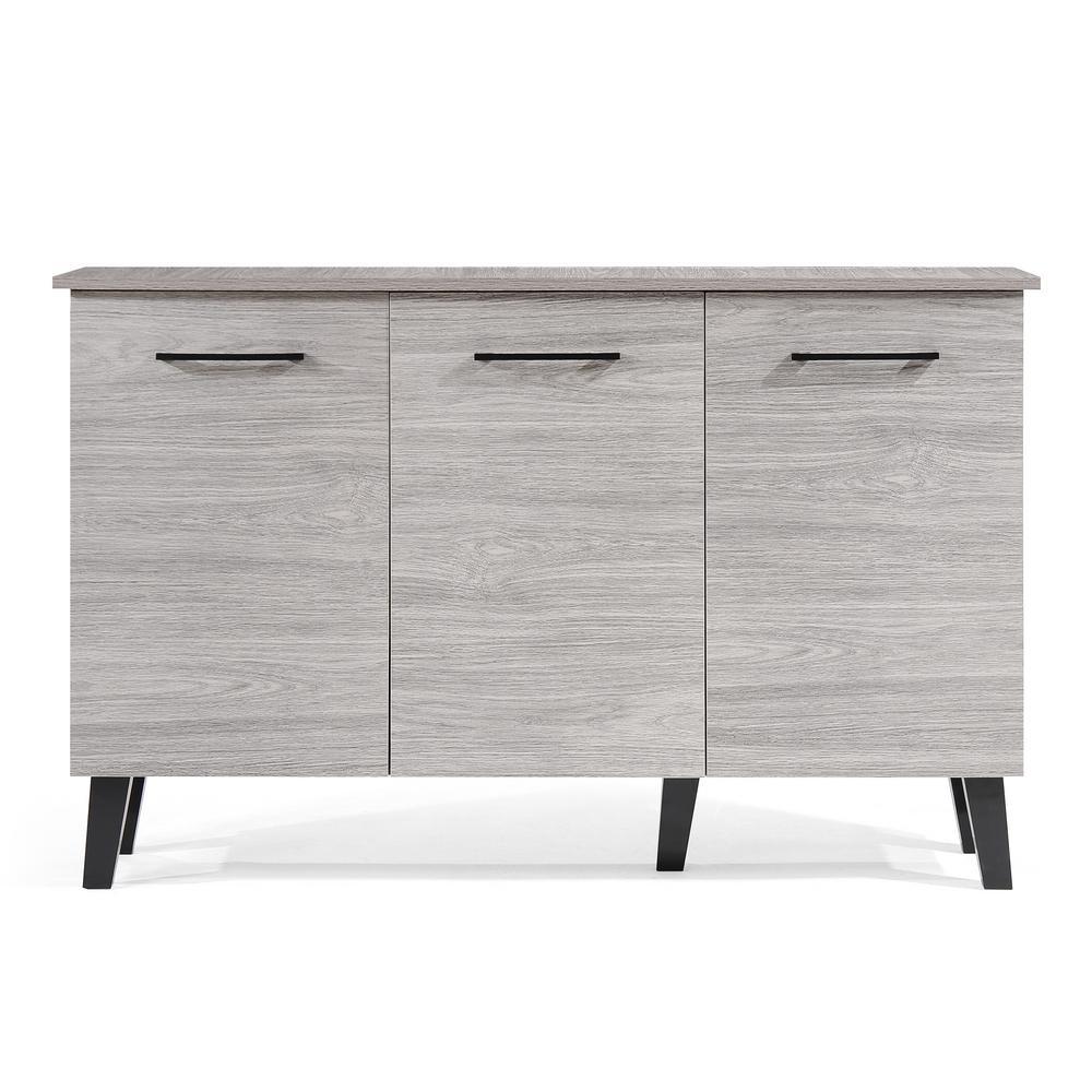 Emlyn Mid-Century Modern Oak Gray Fiberboard 3-Door Cabinet