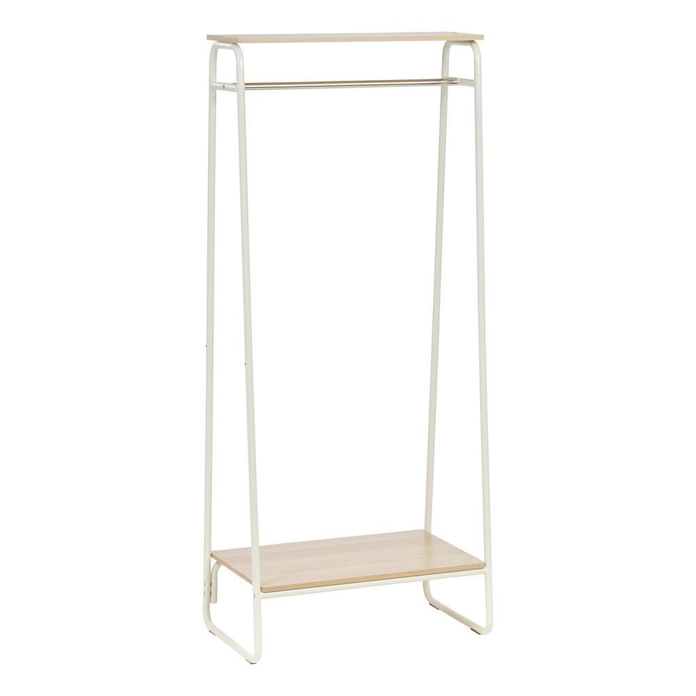 IRIS White and Light Brown Metal Garment Rack with 2-Wood Shelves