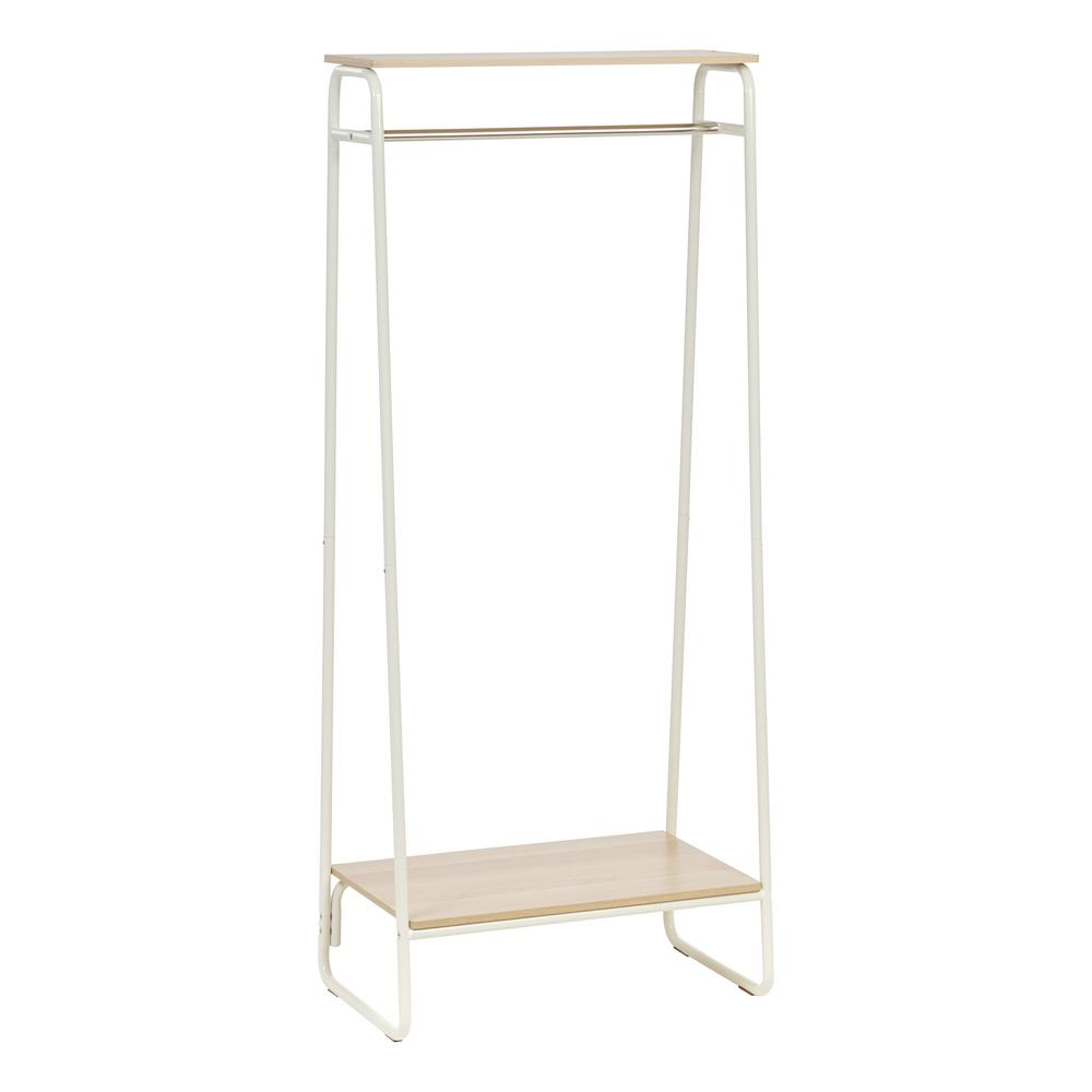 White and Light Brown Metal Garment Rack with 2-Wood Shelves