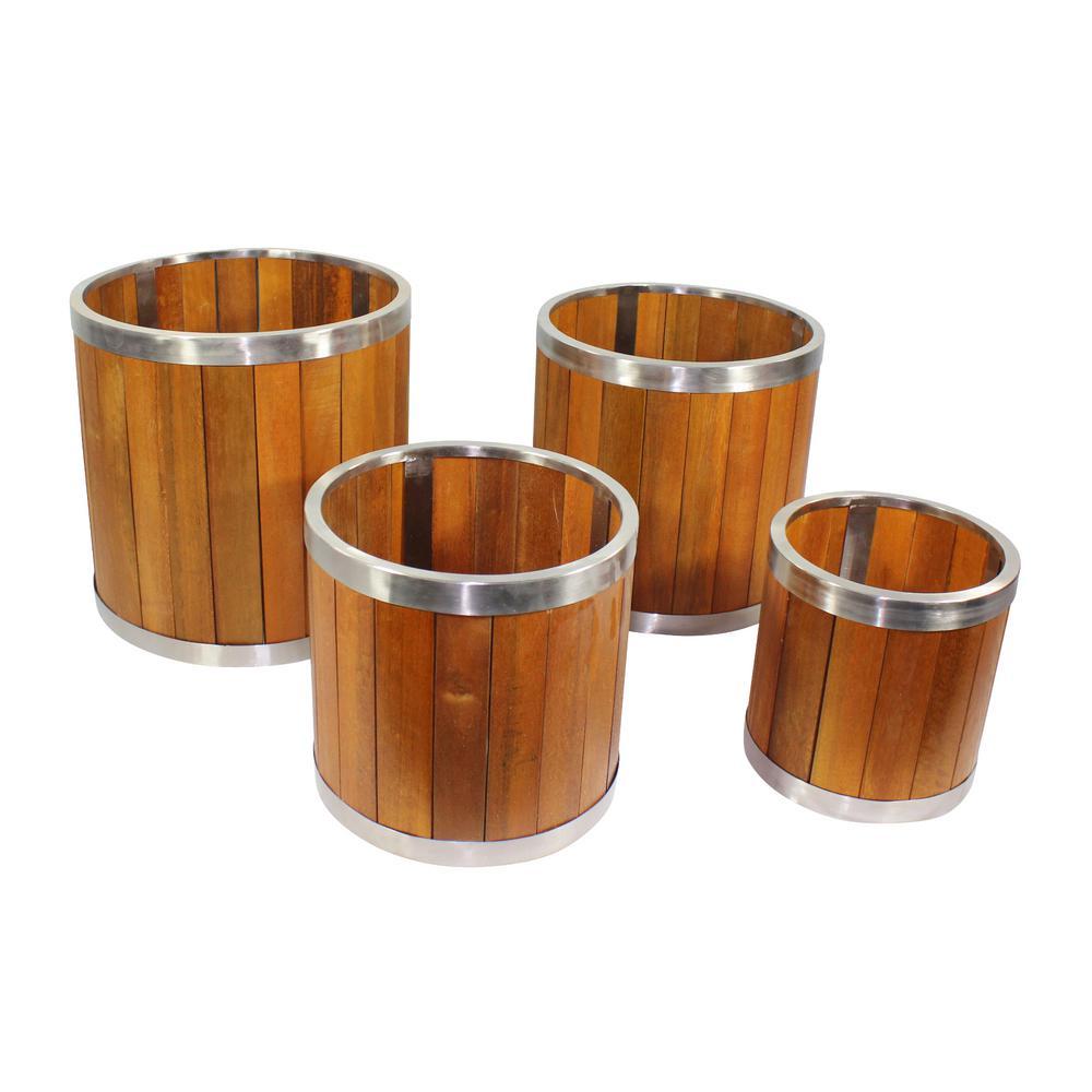 16 in. Round Medium Brown Wooden Planter with Stainless Steel Trim