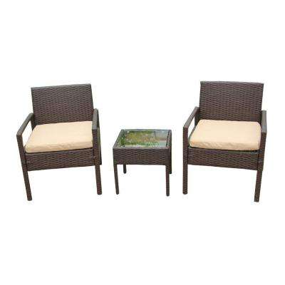 Brown 3-Piece Wicker Patio Conversation Set with Tan Cushions