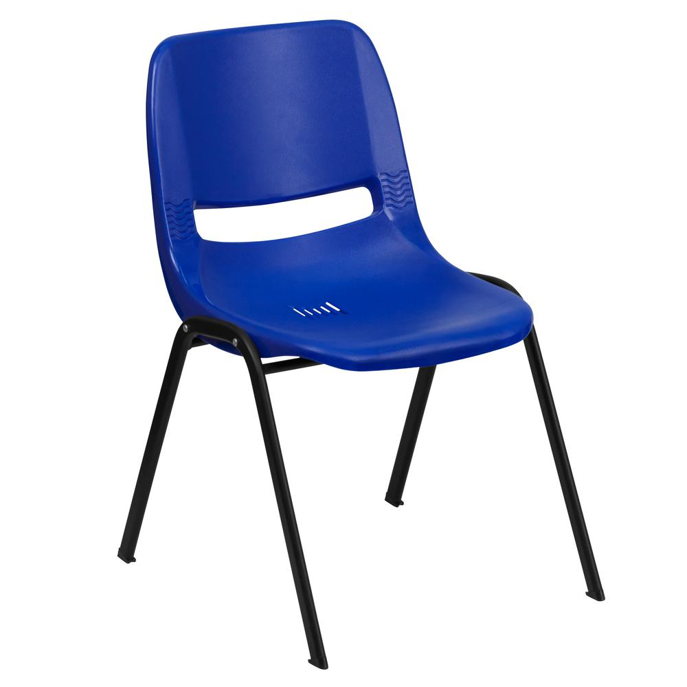 Flash Furniture Hercules Series 440 Lb. Capacity Blue Ergonomic Shell Stack  Chair With Black Frame