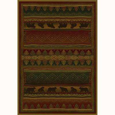 Bearwalk Red 5 ft. x 8 ft. Contemporary Lodge Area Rug