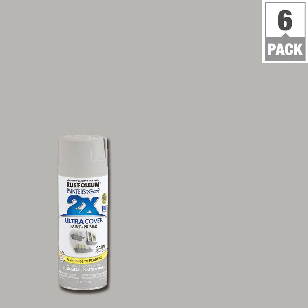 12 oz. Stone Gray Satin General Purpose Spray Paint (6-Pack)