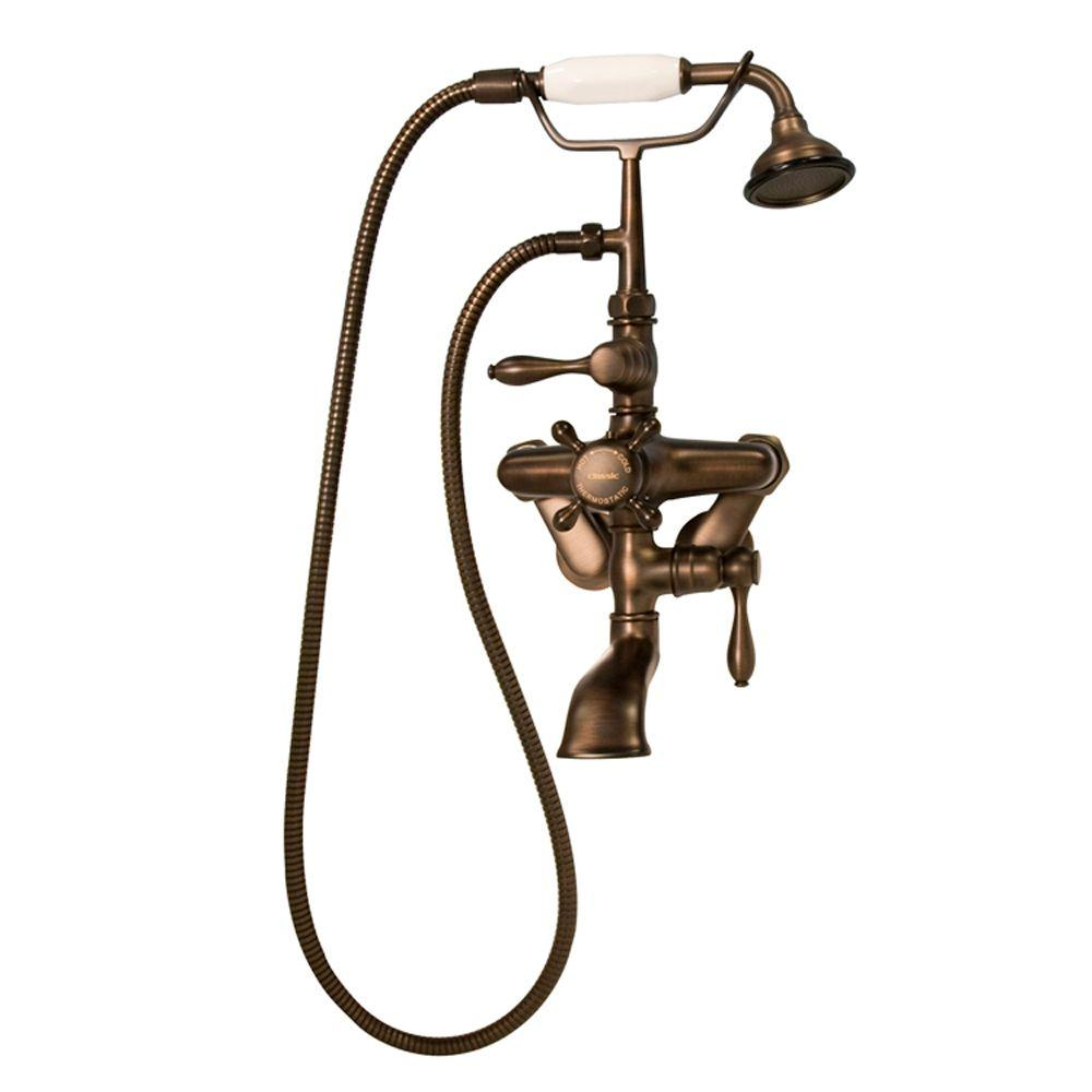 Barclay Products 3-Handle Thermostatic Claw Foot Tub Faucet with Plastic Handle Hand Shower in Oil Rubbed Bronze