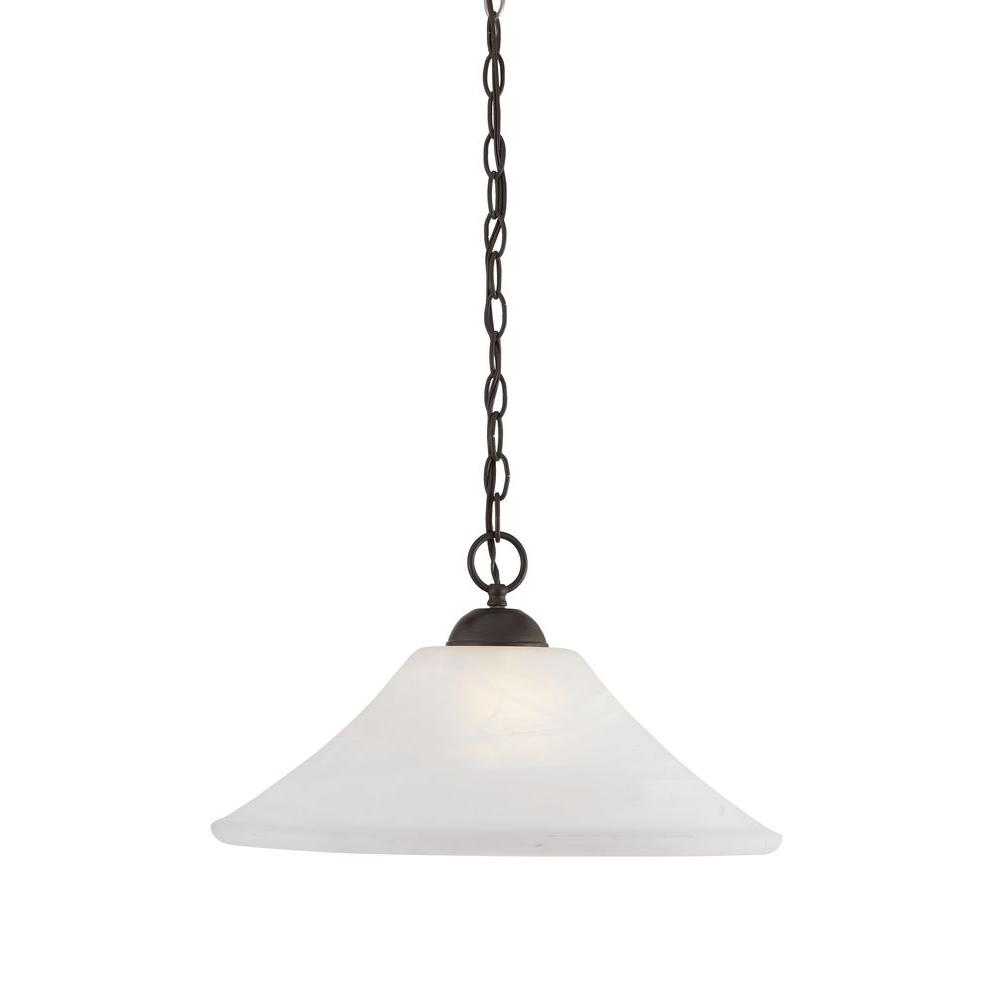 Cottage pendant lights lighting the home depot elipse 1 light painted bronze hanging pendant arubaitofo Image collections