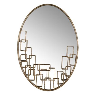 Maxime Antique Gold Leaf Oval Mirror