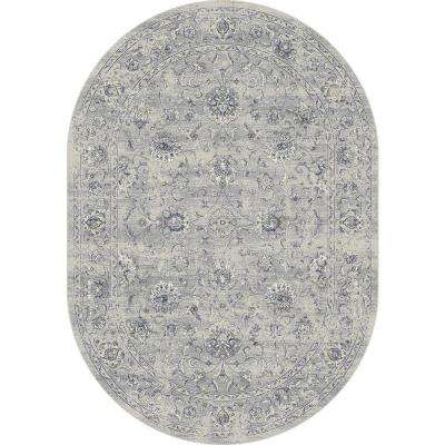Ancient Garden Silver/Grey 5 ft. x 8 ft. Oval Area Rug
