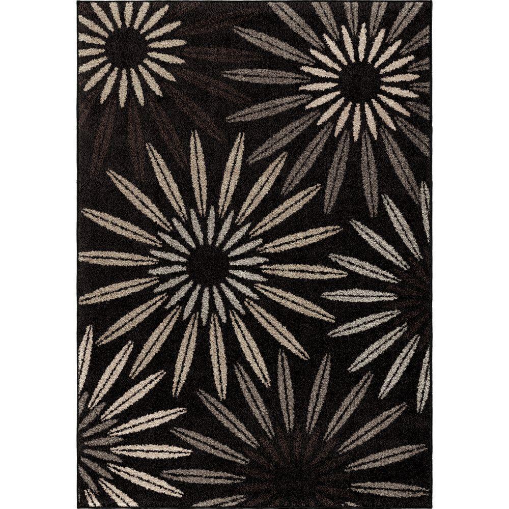 Anchorage Black 7 ft. 10 in. x 10 ft. 10 in. Unique Floral Indoor Area Rug