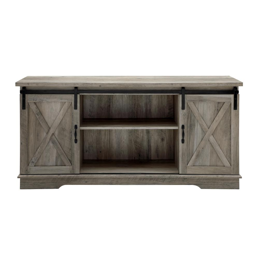 4e24498c16a23 Walker Edison Furniture Company 58 in. Grey Wash Sliding Barn Door Console