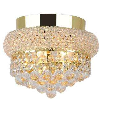 Empire Collection 3-Light Gold and Clear Crystal Ceiling Light