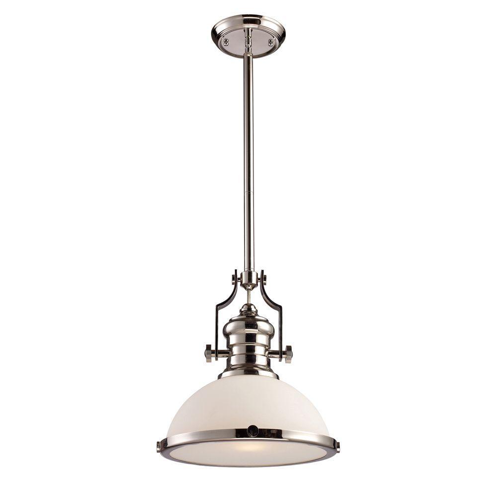 An Lighting Chadwick 1 Light Polished Nickel Ceiling Mount Pendant