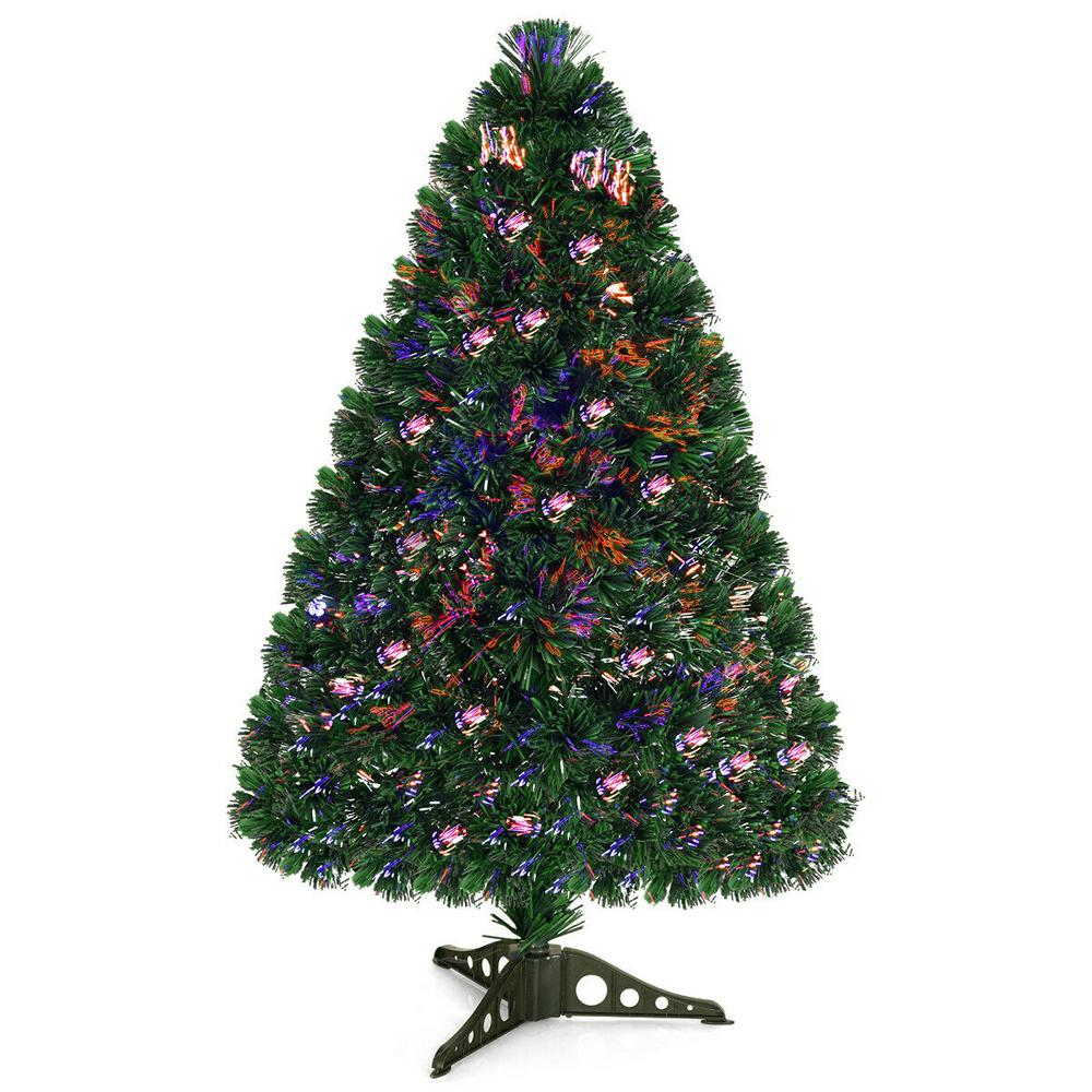 Costway 3 Ft Pre Lit Fiber Optic Artificial Pvc Christmas Tree Tabletop With Plastic Stand