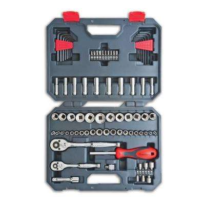 1/4 in. and 3/8 in. Drive 6 and 12 Point SAE/Metric Mechanics Tool Set (84-Piece)
