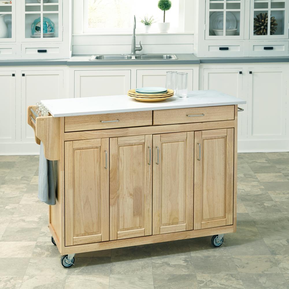 Create-a-Cart Natural Kitchen Cart With Quartz Top