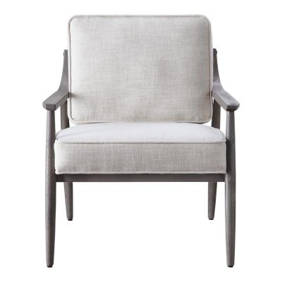 Samuel Arm Chair in Linen Fabric with Grey Brushed Wood Frame K/D