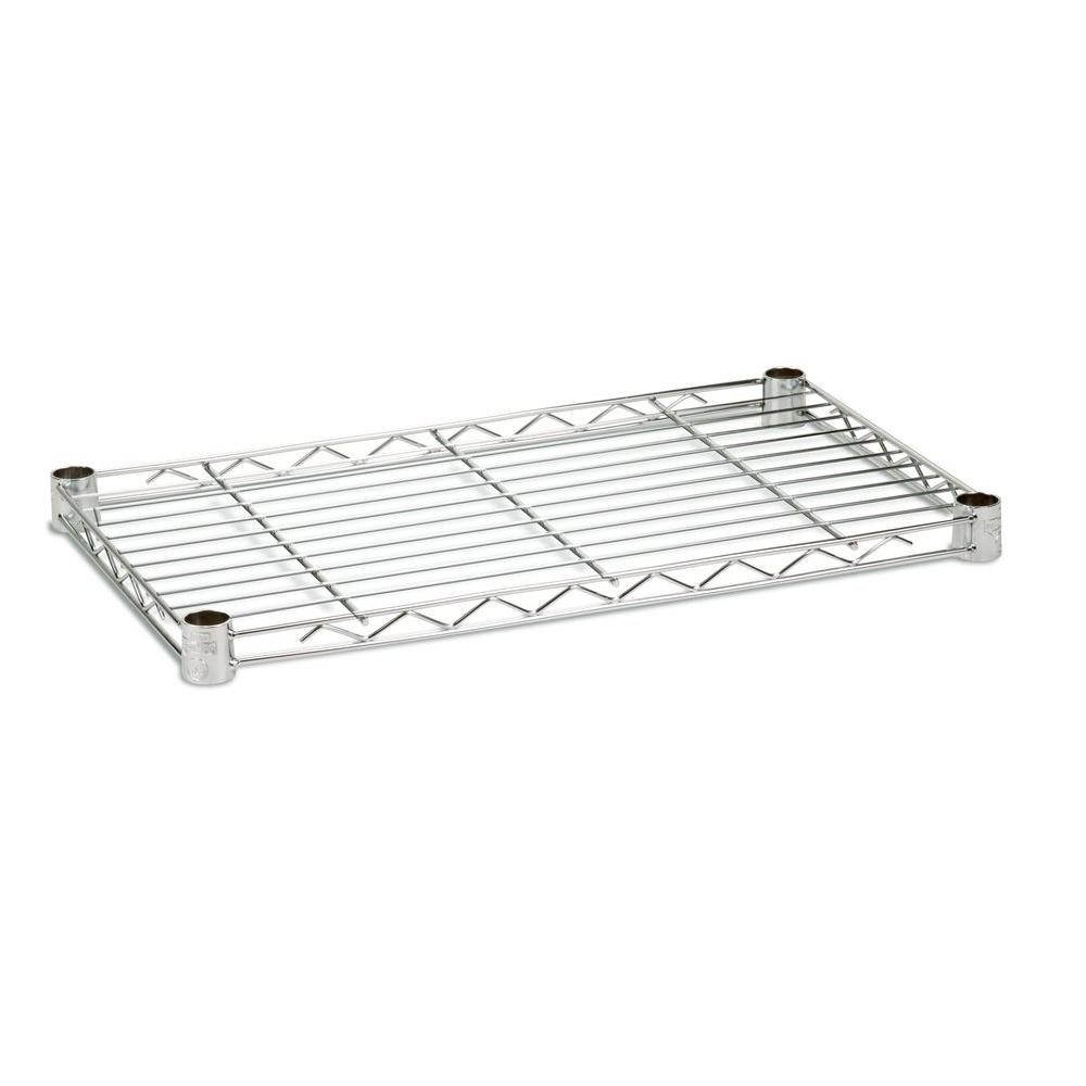 Honey-Can-Do 1 in. H x 14 in. W x 36 in. D 250 lbs. Capacity Freestanding Steel Shelf in Chrome