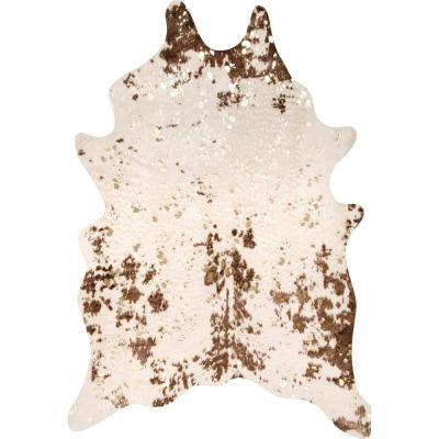 Iraida Faux Cowhide Off-White/Brown 4 ft. x 5 ft. Shaped Accent Rug