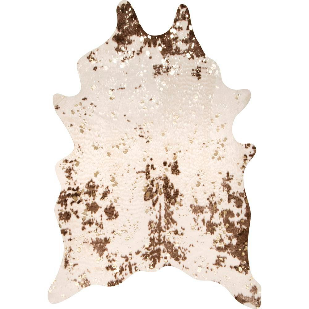 Stylewell Iraida Faux Cowhide Off White Brown 4 Ft X 5 Area Rug