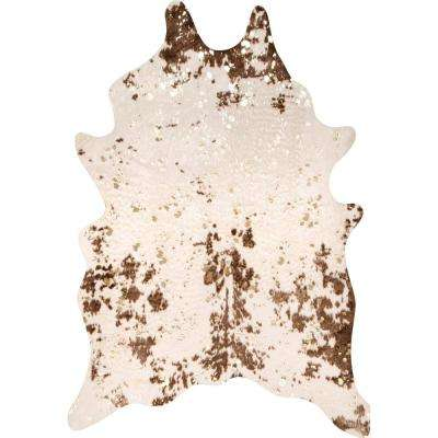 Iraida Faux Cowhide Off-White/Brown 5 ft.  x7 ft. Shaped Accent Rug