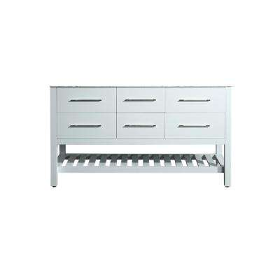 59 in. Main Cabinet Only in White with Matte/Polished Chrome Hardware