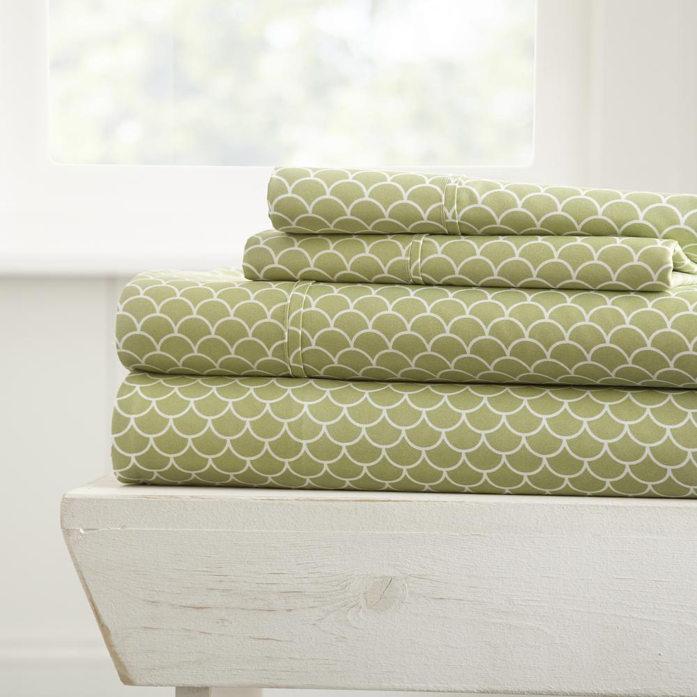 4-Piece Scallops Patterned Sage Full Performance Bed Sheet Set