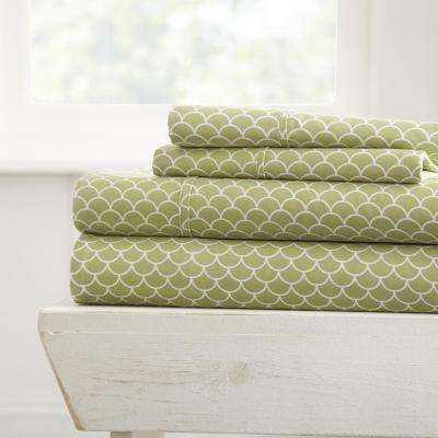 Scallops Patterned 4-Piece Sage Twin Performance Bed Sheet Set