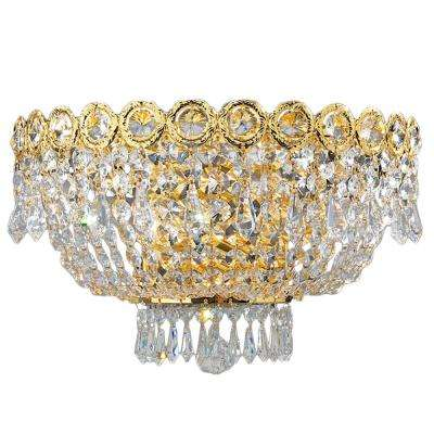 Empire Collection 3-Light Gold Sconce with Clear Crystal