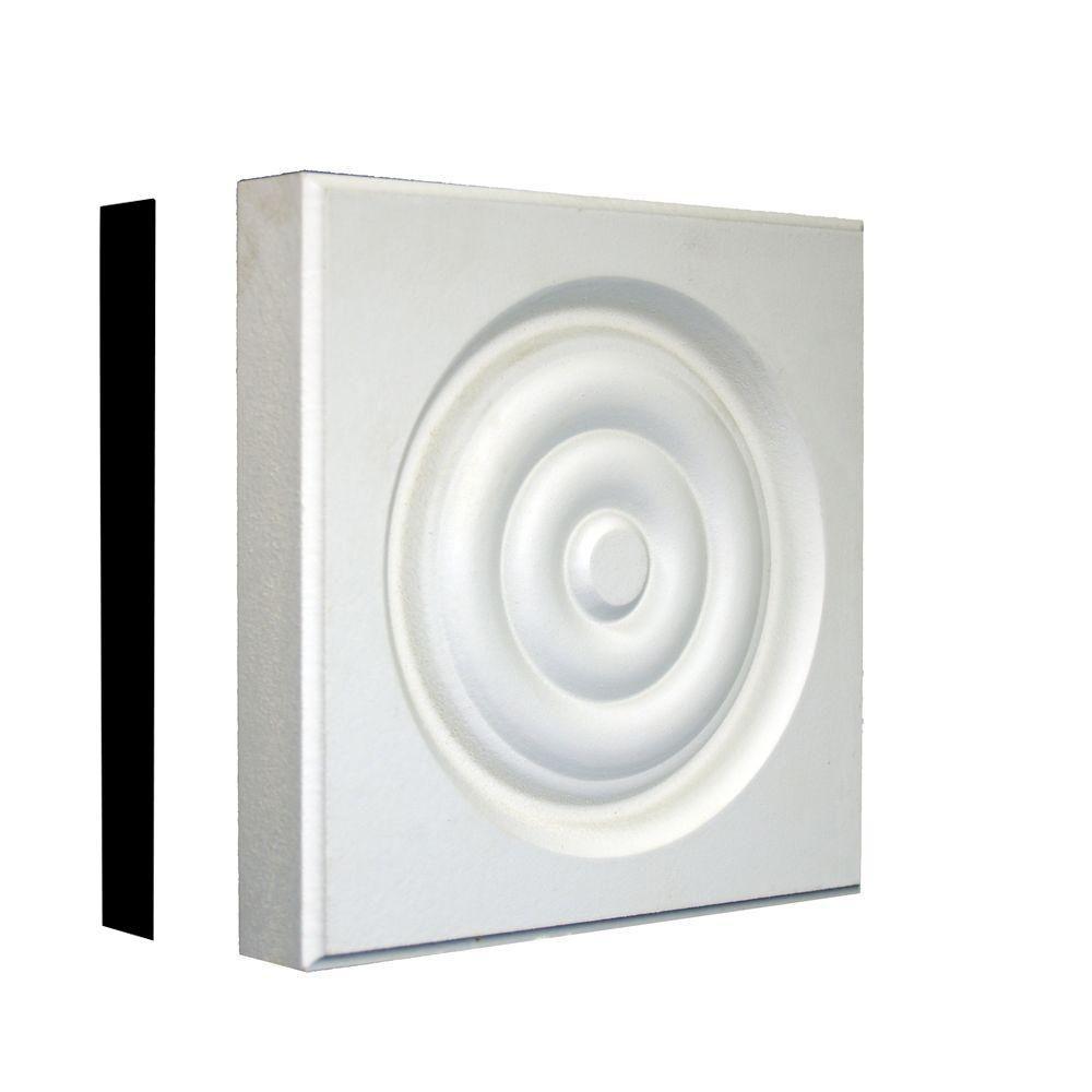 7/8 in. x 5-1/8 in. x 5-1/8 in. Primed MDF Rosette Corner Block Moulding