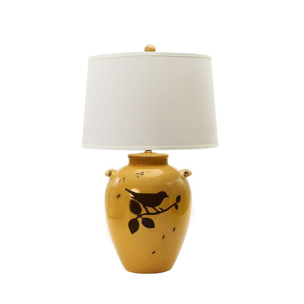 Shabby Amber Crackle With Bird Ceramic Table Lamp 8781   The Home Depot