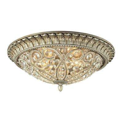 Valentino Collection 3-Light Aged Silver Flushmount