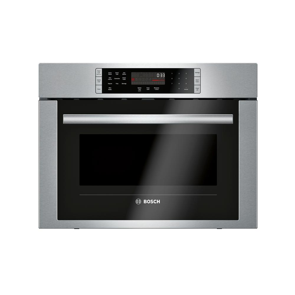 Bosch 500 Series 24 in. 1.6 cu. ft. Built-in Convection Speed Microwave in Stainless Steel with SpeedChef Cooking