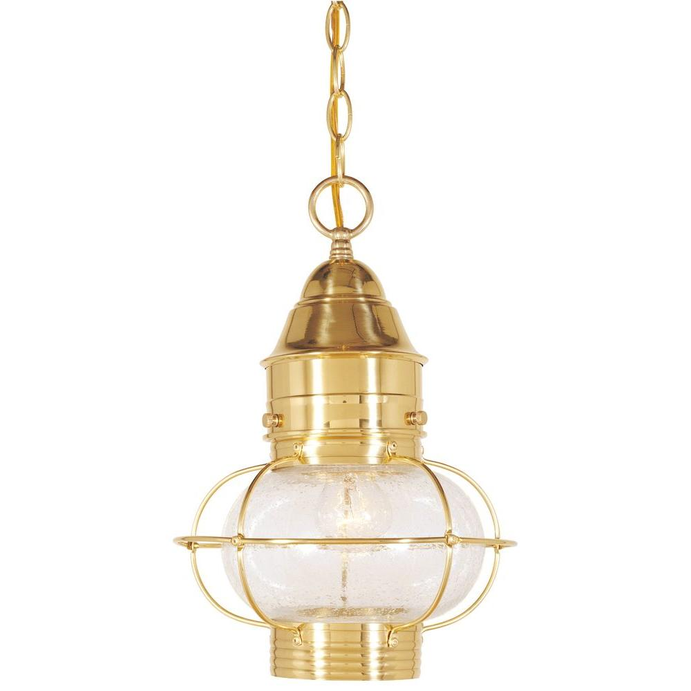 Cordelia Lighting Hanging Outdoor Polished Brass 10 in. Lantern-DISCONTINUED