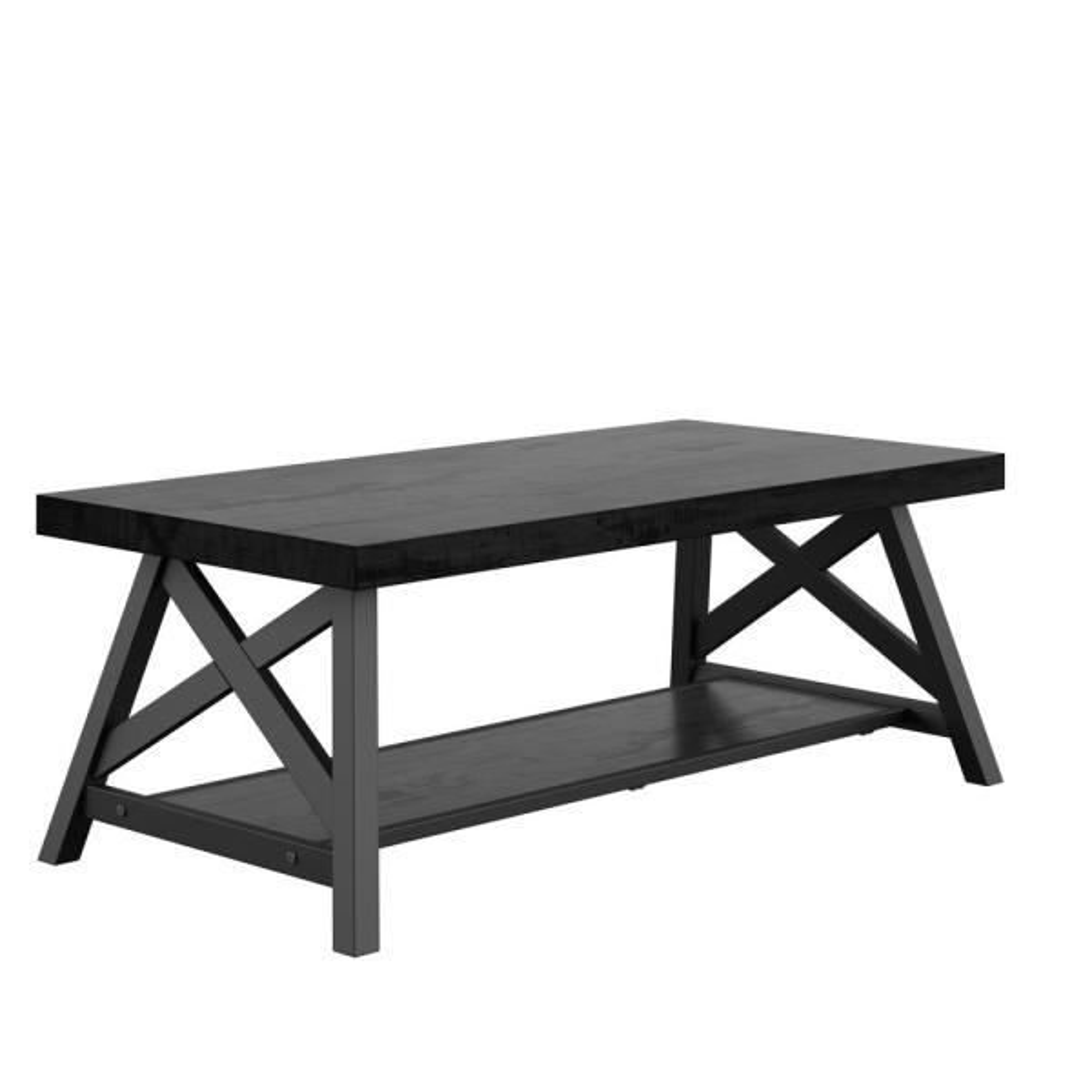 Black Coffee Table with Shelf