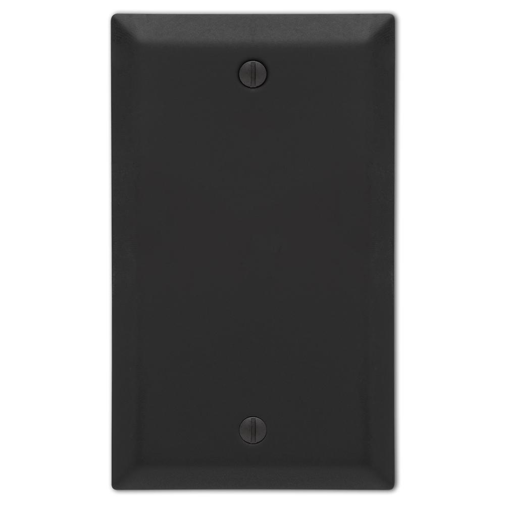 Metallic 1 Gang Blank Steel Wall Plate - Black