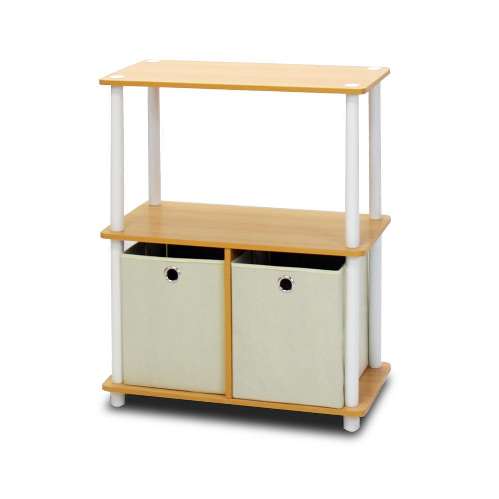 Go Green 3-Shelf Beech Color Open Bookcase with Bins