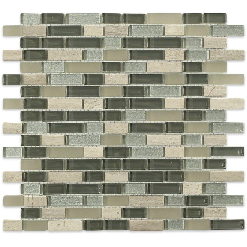 Splashback Tile Naiad Blend Bricks Pattern 12 in. x 12 in. x 8 mm Marble and Glass Mosaic Floor and Wall Tile
