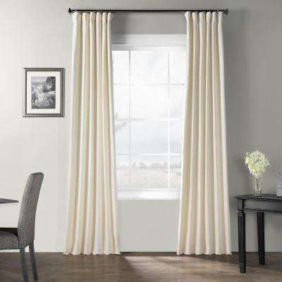 Pale Ivory Bark Weave Solid Cotton Curtain - 50 in. W x 84 in. L