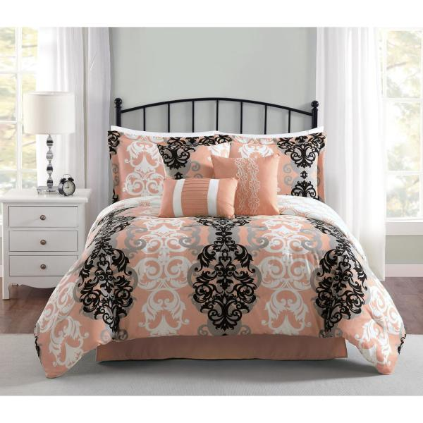 Carmela Home Downton 7-Piece Reversible Coral Queen Comforter Set YMZ008008