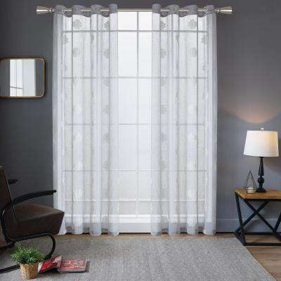 Harper embroidery Sheer Polyester Curtain in Silver - 84 in. L x 52 in. W