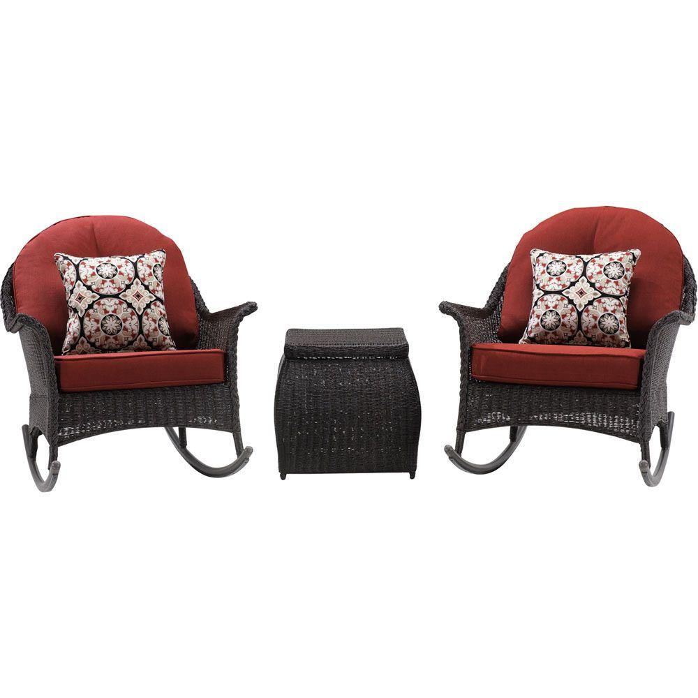 San Marino 3 Piece All Weather Wicker Patio Rocker Seating Set With Crimson Red Cushions