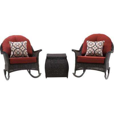 San Marino 3-Piece All-Weather Wicker Patio Rocker Seating Set with Crimson Red Cushions