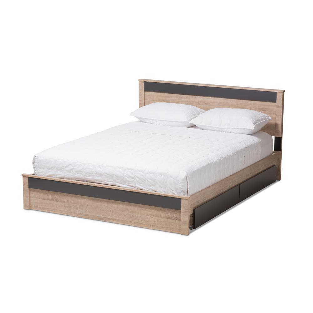 Jamie Light Brown Wood Queen Storage Bed