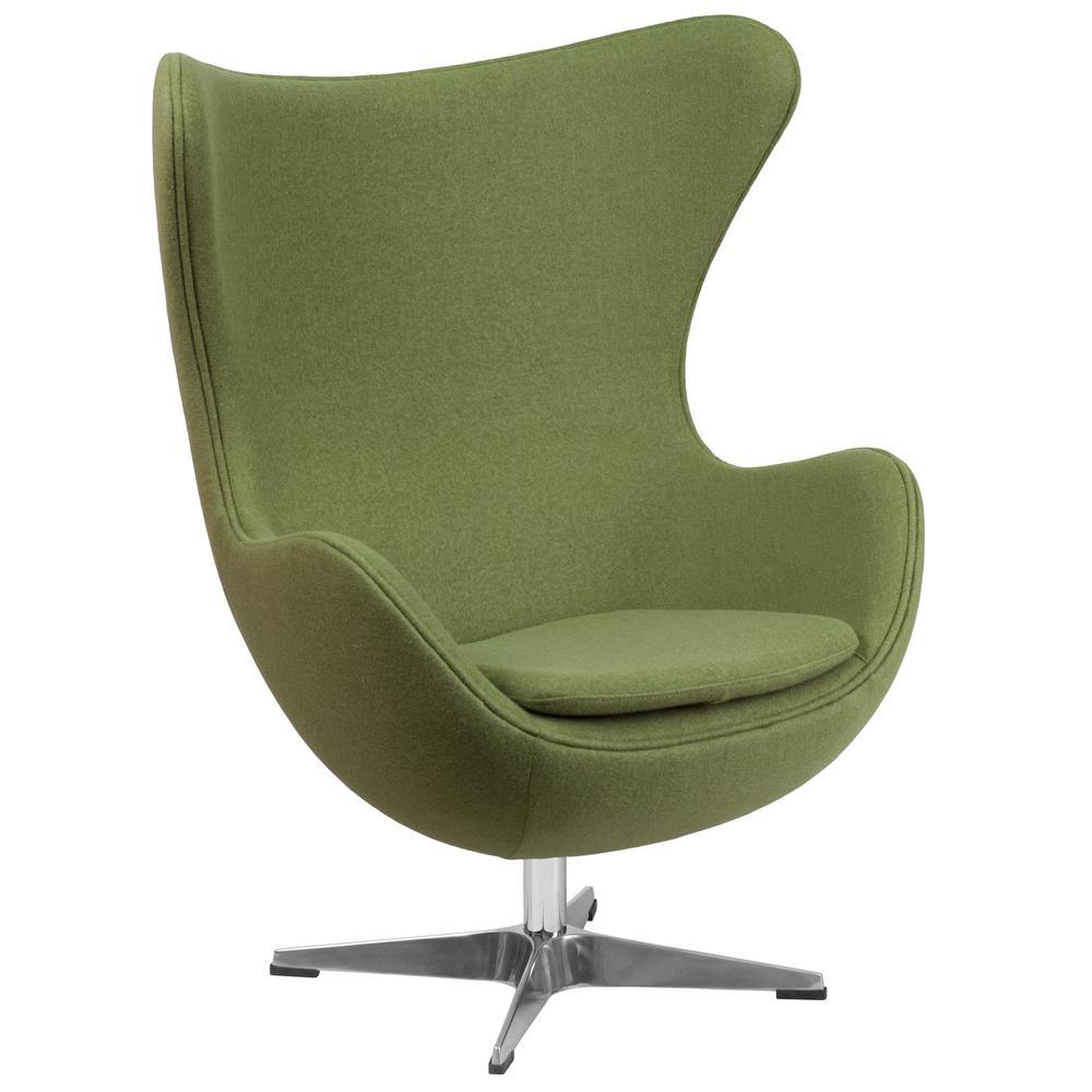 Grass Green Wool Fabric Egg Chair With Tilt Lock Mechanism